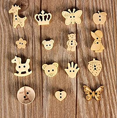 Pack of 15 - 2 Holes Mixed Butterfly, Ladybird, Snail, Teddy Bear, Tiger Cat Wooden Buttons, for Sewing, Scrapbooking, Embelishments, Crafts, Jewellery making, shabby chic, Knitting, : everything £5 (or less!)