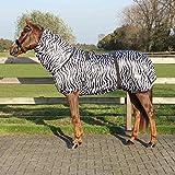 QHP Ekzemdecke mit Hals und abnehmbarem Bauchlatz (85 cm, Zebra)
