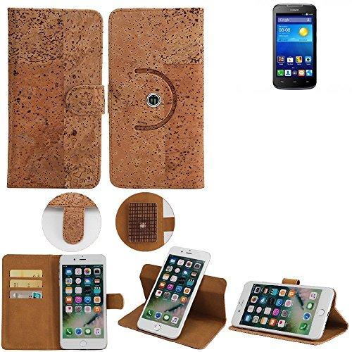 K-S-Trade Schutz Hülle für Huawei Ascend Y540 Handyhülle Kork Handy Tasche Korkhülle Schutzhülle Handytasche Wallet Case Walletcase Flip Cover Smartphone