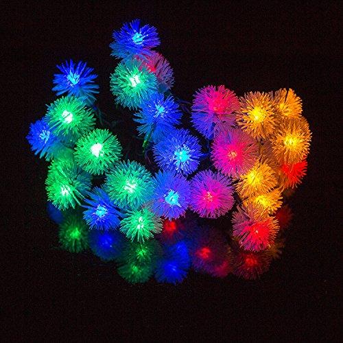 H&D Youngsun® 30er LED Solar Lichterkette Pompon 6,35 Meter Außen Innen Outdoor Garten bunt Fairy Light Party Fest Deko Weihnachten Hochzeit Beleuchtung (bunt (Pompon))