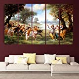Kyara Arts Split Wall Painting In Multiple Frames || Wooden Framed Art Panels || Wall Painting For Kids Room || Living Room ||7mm Hard MDF Board Painting Ready To Hang-Beautiful KRISHNA BALRAM PLAYING Texture Print Digital Wall Painting || 5 Pc (148cm X 7