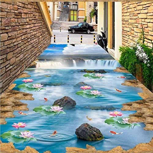 BZDHWWH Kostenloser Versand 3D Cliff Falls Blue Sky Weiß Lotus Teppich Küche Boden Tragen Rutschfeste Wasserdichte Schlafzimmer Quadratischen Bodenbelag Wandbild,175Cm X 250Cm