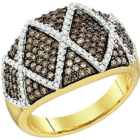 Bague Femme 1.01 ct 10 ct 471/1000 Or Jaune Rond Blanc & Cognac Diamants 1 ct