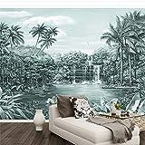 HUANGYAHUI Papier Peint Peint à la Main Paysage Tropical forêt Tropicale papiers Peints muraux décor à la Maison 3D peintures murales-400cm W x 24450cm H