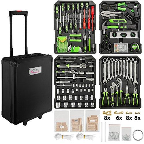 TecTake 899 teiliger Alu Werkzeugkoffer Trolley mit Werkzeug gefüllt/4 Ebenen/Teleskopgriff/schwarz