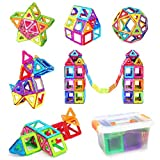 Magnetic Building Blocks, AUGYMER 60 Pcs Kids Magnetic Blocks Toys, Kids Construction Blocks, Building Tiles Blocks for Creativity Educational, Instruction Booklet and Storage Box Included