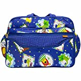 Rachna's Baby Diaper / Nappy Changing Polka Dots Multi-Purpose Mother Shoulder Cotton Nursery Travel Messenger Bag - 3031 - Blue