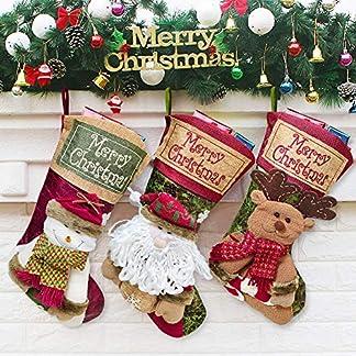 SPECOOL 3 Pcs Medias de Navidad, Santa, Christmas Stockings muñeco de Nieve, Reno Navidad Decoracion
