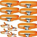 timtina® 12x Spanngurte Klemmschloss Befestigungsriemen Spanngurt mit Schnellverschluss (orange)