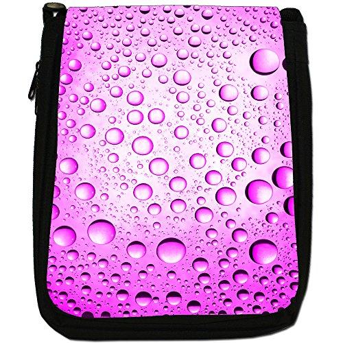 Acqua colorata gocce Medium Nero Borsa In Tela, taglia M Pink Water Droplets