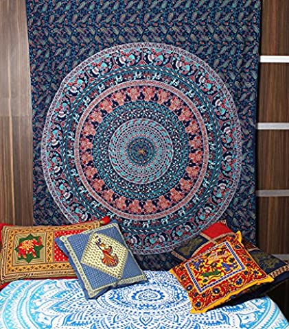 Kesrie Hand printed Mandala wall hanging tapestry Swadhishthan Chakra associated with water element for joy and (Happy Tree Friends Christmas Lights)