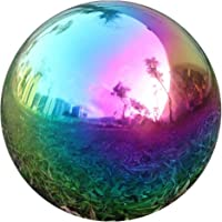 GDglobal Stainless Steel Gazing Ball Mirror Polished Hollow Ball Reflective Garden Sphere for Home Garden Decoration (80mm, Rainbow)