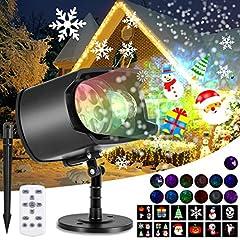 Idea Regalo - AGPTEK Proiettore laser natale Halloween, IP65 Proiettore LED Natale non Cambia Diapositive solo con Telecomando, Include 12 SCHEMI 13 ONDE, Adatto Halloween Natale Compleanno Party Festa.