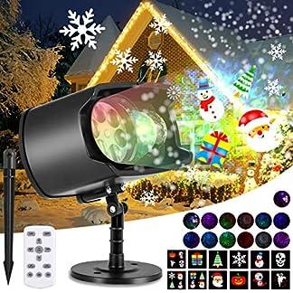 AGPTEK Luces Proyector de Navidad de Halloween, Impermeable Decoración Luz de Proyector con Mando a Distancia, 2 Cabezales, Temporizador para Navidad, Halloween, Festivos, Fiestas