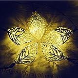 Lichterkette,20 LED 16 ft/4.9m Baum Blatt Solarschnur -Licht Metall Ornament Lichter für Garten, Hochzeit, Party, Outdoor und Weihnachten, Bernstein