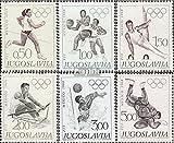 Yougoslavie 1290-1295 (complète.Edition.) 1968 Jeux Olympiques Été (Timbres pour les collectionneurs) Basket-ball/volley-ball/handball