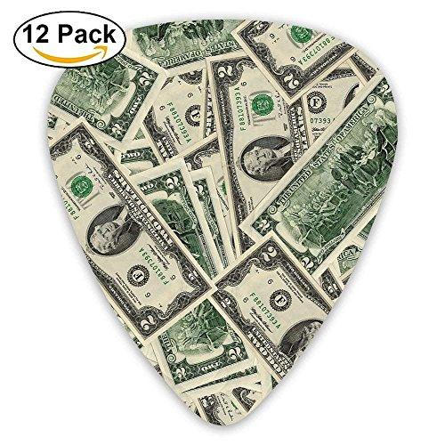 12-Pack Custom Guitar Picks Dollar Money Standard Bass Guitarist Music Gifts - Dollar-standard