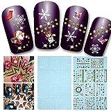 Demiawaking 2 Fogli Natale Adesivi per Unghi Decalcomanie del Unghie Nail Art di Modello del Santa,Renna,Fiocchi di Neve