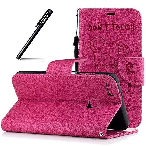 Huawei P10 Lite Hülle,BtDuck PU Leder Hülle Magnet Flip Wallet Case Cover mit Silikonhülle Schutzhülle Mädchen Brieftasche Tasche mit Standfunktion Kinder Geschenk Handyhülle für Huawei P10 Lite Rosa