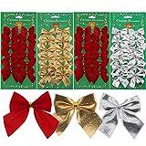 48 Pezzi Natale Fiocchi Nodo dell'Occhiello Xmas Albero Decorazione Arco 50 mm per Ornamenti Albero di Natale e Mestieri, Rosso Oro Argento