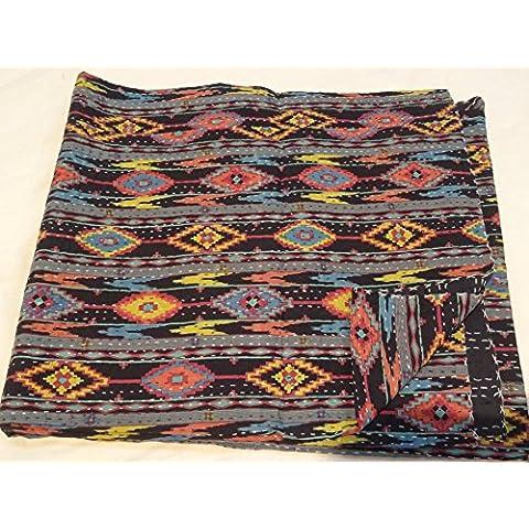 Tribal Asian Textiles hecho a mano pájaro Impresión Queen Size Kantha Edredón, manta Kantha, cubierta de cama, rey Kantha colcha, Bohemia Bedding Kantha Tamaño 90pulgadas x 108pulgadas 121