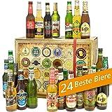Geschenke für Männer 24x BIERSORTEN AUS ALLER WELT Geschenkbox + Geschenkkarten + Bierbewertungsbogen. Bier Geschenke für Männer. Bier der Welt mit 24 Flaschen Bier