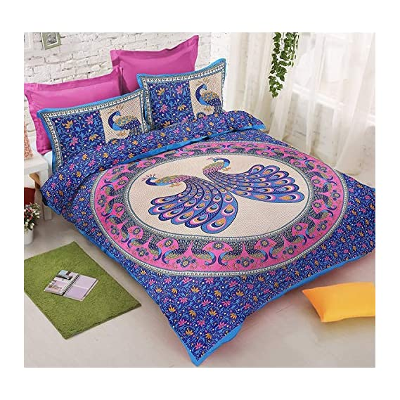Fashion Hub Peacock Printed Printed Cotton Double Bed Size Bedsheet/Bedspread for Wall Hanging Decoration with Pillow Cover (Multi) (91x86 Inches)