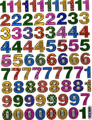 Bunt Zahlen Nummern Aufkleber Ziffer 13 mm hoch 1 Blatt 135 mm x 100 mm Sticker Basteln Kinder Party Metallic-Look