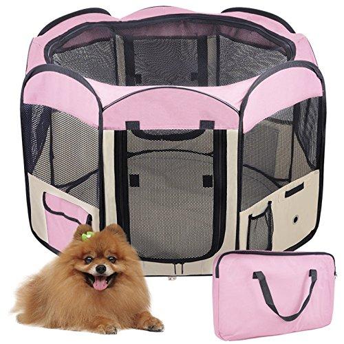 Laufstall Hund,Welpenlaufstall für Hunde,Hundehütte Welpenauslauf Laufstall für Hunde Welpenlaufstall Katzenhaus (Rosa)