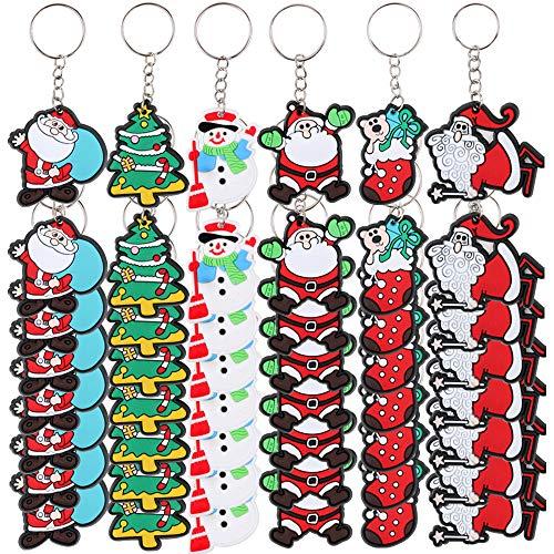 FLOFIA 48pcs Llavero Navidad PVC Santa Claus Llavero