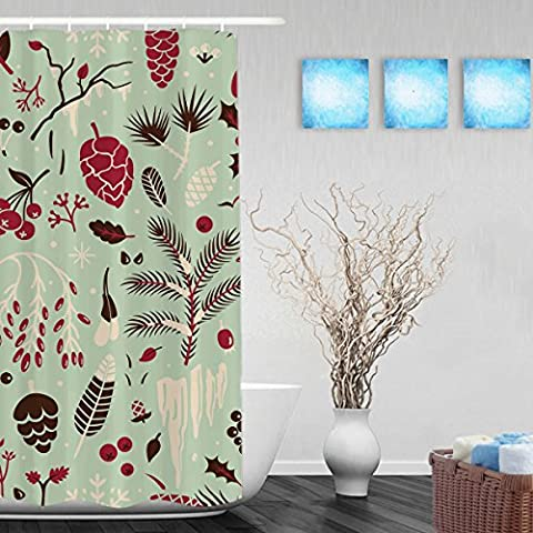 Seamless Winter Pattern Bathroom Shower Curtains Leaves Pine Cones Snowflakes Holly Decor Shower Curtain High Quality Waterproof Mildew Fade Resistant Ployster Fabric 36