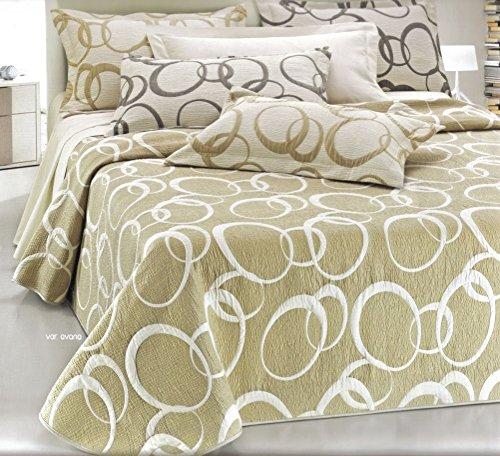Tagesdecke Doppelbett leicht Steppjacke Übergangsjacke Quilt DOUBLE FACE beige weiß Steppdecke 265x 265cm -