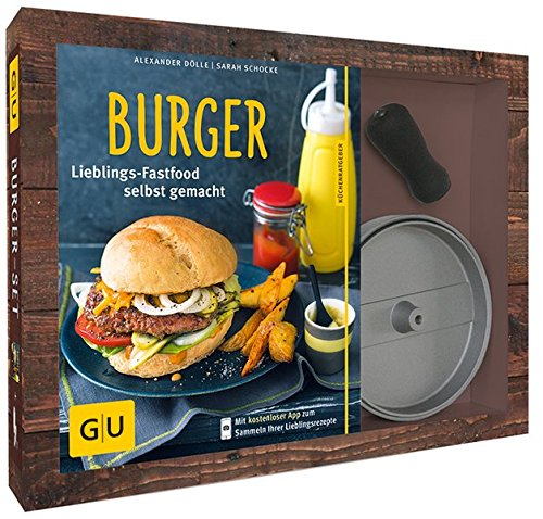 Preisvergleich Produktbild Burger-Set: mit antihaftbeschichteter Burgerpresse aus Aluguss (GU BuchPlus)