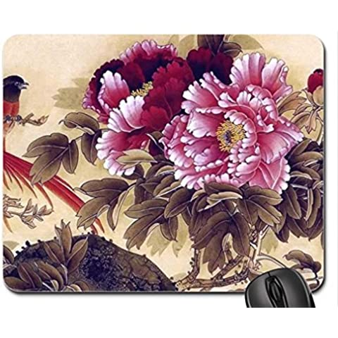Peonies and Birds Oriental Mouse Pad, Mousepad (Flowers Mouse Pad)