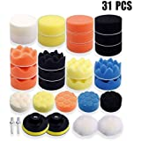ZoneYan 31 stuks polijstsponzen voor de auto, polijstmachine, polijst-set voor boormachine, wol-polijstset, auto polijstschij