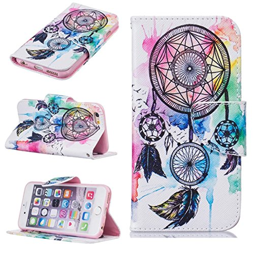 iPhone 6 Coque, iPhone 6S Coque, Lifeturt [ Purple Butterfly ] [book-style] Flip Case Coque en PU Cuir Housse de Protection Étui à rabat Case Cover Ultra Slim Portefeuille PU Cuir avec stand de Carte  E02-Color Dreams4154