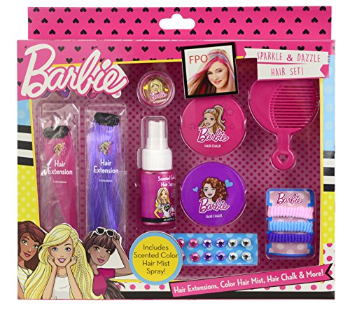 Funkelndes 13-teiliges Barbie Haar-Set - bunte Haarsträhnen, farbiges und duftendes Haarspray, Haarspangen, trendige Haar-Kreide