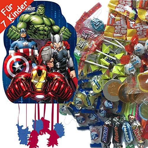s * mit riesengroßer Piñata + 100-teiliges Süßigkeiten-Füllung No.1 von Carpeta | Spanische Zugpinata für bis zu 7 Kinder | Tolles Superhelden Spiel für Kindergeburtstag ()