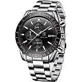 By Benyar elegante orologio uomo analogico al quarzo impermeabile cinturino in gomma inox, cronografo Sportivo orologio da po