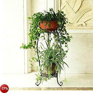 Acornfort 2ripiani ferro casa giardino piante vasi vasi di fiori indoor rack Flower, supporto nero
