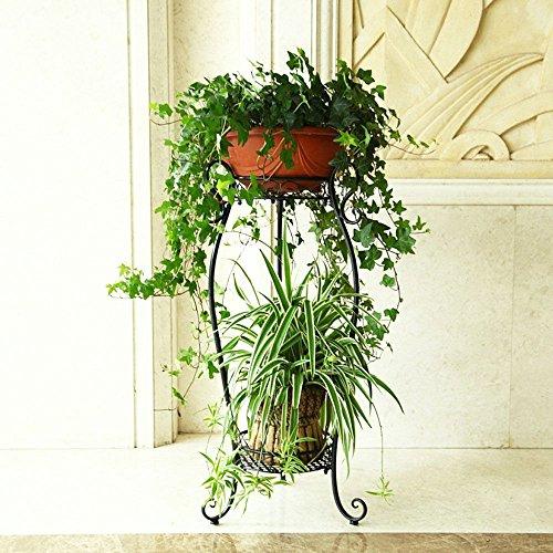 Acornfort à 2étages Home Garden fer Pots de fleurs de plantes d'intérieur de fleur Pot de fleurs Pots support Noir