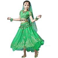 Magogo Girls Belly Dance Dress 8-Piece Set Bollywood Indian Folk Kids Arabian Performance Costume Carnival Outfit