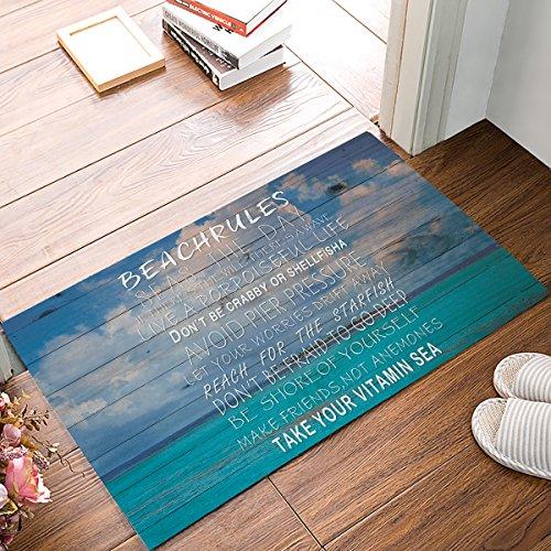 SUN-Shine Funny Fußmatte Kollektion Beach Rules Print Hintergrund in Blau Rutschfeste Unterseite Innen Outdoor Entrance Teppich Teppich 18x30in Multi 1 -