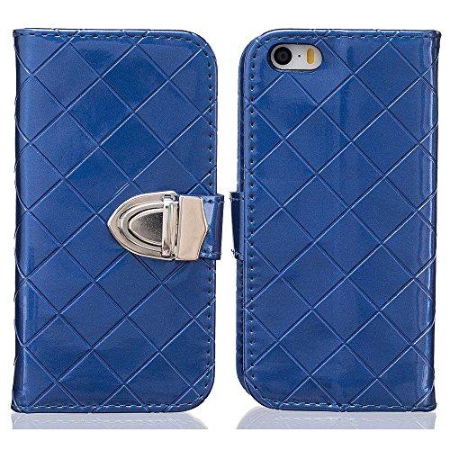 Custodia iPhone 5S 5, iPhone SE Cover, Metallo Magnetico Pulsante Griglia Sbalzato Slap-up Moda Portafoglio Case Supporto Funzione Pelle Libro Case blu