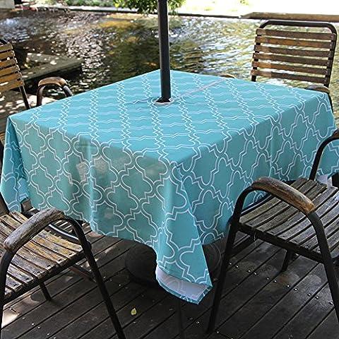 Fanjow® Polyester Nappe Rectangulaire Imprimé floral Nappe étanche Nappe anti-fuites pour restaurant de cuisine salle à manger fête Banquet, Polyester, turquoise,