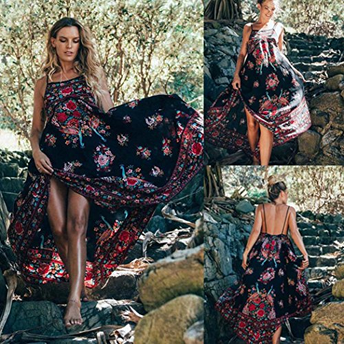 Bluestercool Femmes Robe de soirée Imprimer Floral Retro Palace Sans manches Backless Noir