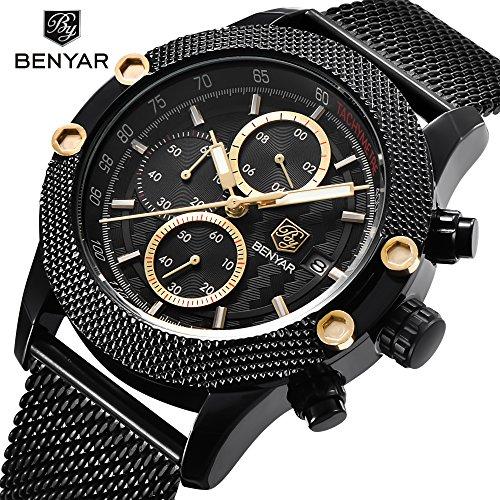 Sport Mode hommes Montres Mesh acier inoxydable sangle bracelet étoile-pointillés Design spécial montre lunette avec la couleur dorée sous-cadran et les mains des hommes de Quartz chronographe Casual