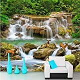 Guyuell Fototapete Grün Pastoralen Bach Wasserfall Elch Wohnzimmer Flur Gang Hintergrundbild Wandbild-400Cmx280Cm