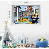 BAOWANG Stickers muraux Pompier Sam Sticker 3D Fenêtre Enfants Chambre Garçons Fille Art Mural Papier Peint Taille L 57cm x 8