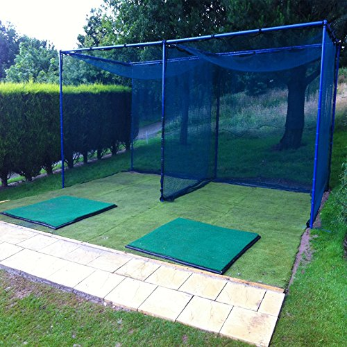 Heavy Duty Socketed Golf Practice Cage (Choice of Single Bay 10ft x 10ft x 10ft or Dual Bay 20ft x 10ft x 10ft) – 43mm Galvanised Steel Frame & Net [Net World Sports] (Single Bay (10 x 10 x 10ft))